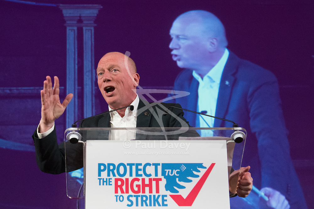 Westminster Central Hall, London, November 2nd 2015. Matt Wrack of the FBU addresses the packed rally Protecting The Right To Strike at Westminster Central Hall.