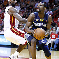 12 March 2011: Memphis Grizzlies shooting guard Tony Allen (9) is seen under the basket as Miami Heat small forward LeBron James (6) defends on him during the Miami Heat 118-85 victory over the Memphis Grizzlies at the AmericanAirlines Arena, Miami, Florida, USA. **