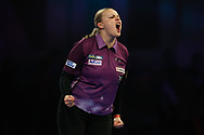 Anastasia Dobromyslova throwing the double to win the second leg in the third set of the match and celebrating, during the World Championship Darts 2018 at Alexandra Palace, London, United Kingdom on 17 December 2018.