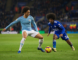Leroy Sane of Manchester City (L) and Hamza Choudhury of Leicester City in action - Mandatory by-line: Jack Phillips/JMP - 26/12/2018 - FOOTBALL - King Power Stadium - Leicester, England - Leicester City v Manchester City - English Premier League