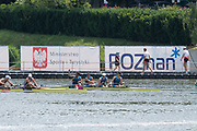 Poznan, POLAND, 22rd June 2019, Saturday, USA2 M4-, (b)REED Andrew, (2)di SANTO Michael, (3)KARWOSKI Alexander and (s) HACK Austin, Semi Final B, competing in the FISA World Rowing Cup II, Malta Lake Course, © Peter SPURRIER.<br /> <br /> 12:56:50