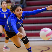 Navajo Pine Warrior Ahedabah June (5) chases after a shot from the Ramah Mustangs Tuesday at Ramah High School.
