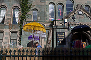 Colourful sun parasols outside the Ebeneezer cafe, on 13th September 2018, in Barmouth, Gwynedd, Wales.