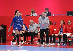 KOLDING, DENMARK - DECEMBER 5: Eliza Buceschi and George-Bogdan Burcea, head coach of Poland, during the EHF Euro 2020 Group D match between Poland and Romania in Sydbank Arena, Kolding, Denmark on December 5, 2020. Photo Credit: Allan Jensen/EVENTMEDIA.