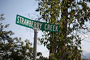 Sign marking Strawberry Creek in Paradise Valley on 6th August 2007 at Pray, near Livingstone, Montana.