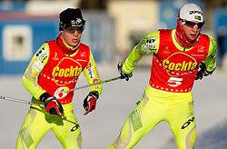 Matej Drinovec of NSK Trzic - Trifix and Alen Turjak of SSK Mislinja during cross country race for Slovenian National Nordic combined Championship, on January 5, 2011 at Rudno polje, Pokljuka, Slovenia. (Photo by Vid Ponikvar / Sportida.com)