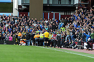 stewards move in as some Chelsea supporters invade the pitch after Frank Lambard scores his 2nd goal. Barclays Premier League, Aston Villa v Chelsea at Villa Park in Birmingham on Saturday 11th May 2013. pic by Andrew Orchard,  Andrew Orchard sports photography,