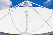 Satellite dish antenna and feed horn at remote communications site at Mount Canobolas, News South Wales, Australia <br /> <br /> Editions:- Open Edition Print / Stock Image