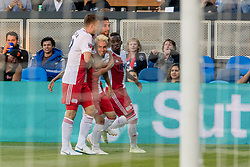 June 13, 2018 - San Jose, CA, U.S. - SAN JOSE, CA - JUNE 13: New England Revolution players celebrate with New England Revolution Midfielder Diego Fagundez (14) after scoring the first goal of the game during the MLS game between the New England Revolution and the San Jose Earthquakes on June 13, 2018, at Avaya Stadium in San Jose, CA. The game ended in a 2-2 tie. (Photo by Bob Kupbens/Icon Sportswire) (Credit Image: © Bob Kupbens/Icon SMI via ZUMA Press)