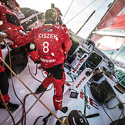 Leg 4, Melbourne to Hong Kong, day 01 on board MAPFRE, Leg start, moments before leave the bay of Molbourne. Photo by Ugo Fonolla/Volvo Ocean Race. 02 January, 2018.
