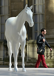 © Licensed to London News Pictures. 05/03/2013. Westminster, UK The British Council - the UK's international organisation for educational opportunities and cultural relations - unveils a new sculpture, The White Horse by Mark Wallinger, outside its headquarters on The Mall in London, as it announces £7 million of extra investment in its work to connect the best of the UK's creative talent with the world. The statue, made of marble and resin, is a life-size representation of a thoroughbred racehorse. It has been created using state-of the-art technology in which a live horse was scanned using a white light scanner, producing an accurate representation of the animal. It will be on display for two years, before touring overseas. Photo credit : Stephen Simpson/LNP
