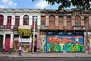 Street art in Lapa in the daytime, central city, Rio de Janeiro.