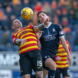 Partick Thistle's Miles Storey and Falkirk's Ruben Sammut. Falkirk 1 v 1 Partick Thistle, Scottish Championship game played 17/11/2018 at The Falkirk Stadium.