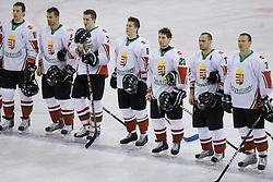 Team of Hungary at IIHF Ice-hockey World Championships Division I Group B match between National teams of Korea and Hungary, on April 17, 2010, in Tivoli hall, Ljubljana, Slovenia. Hungary defeated Korea 4-2. (Photo by Vid Ponikvar / Sportida)