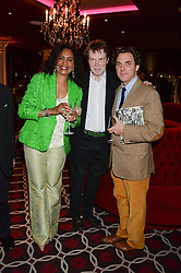 Left to right, HAZEL COLLINS, her husband BILL COLLINS and SACHA NEWLEY at a party to celebrate the publication of 'Passion for Life' by Joan Collins held at No41 The Westbury Hotel, Mayfair, London on21st October 2013.