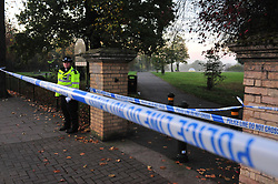 © Licensed to London News Pictures.03/11/2017.<br /> PENGE, UK.<br /> A Murder investigation has been launched following a fatal stabbing in Penge at Betts Park, Anerley Road,<br /> Police were called at 19.22 hrs on Thursday 2 November to Betts Park,Penge near Bromley to reports of a male having been attacked. The victim was pronouced dead at the scene. The park is closed off by police.<br /> Photo credit: Grant Falvey/LNP