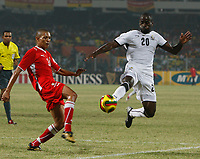 Photo: Steve Bond/Richard Lane Photography.<br />Ghana v Namibia. Africa Cup of Nations. 24/01/2008. Quincy Owusu-Abayie (R) dives in for the ball