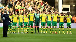 Norwich City players during a 2 minutes silence