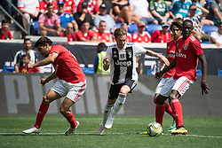 July 28, 2018 - Harrison, New Jersey, United States - Juventus forward LUCA CLEMENZA (38) nibbles past SL Benfica defender YURI RIBEIRO (15) during the International Champions Cup at Red Bull Arena in Harrison, NJ.  Juventes defeats SL Benfica 1-1  (Credit Image: © Mark Smith via ZUMA Wire)