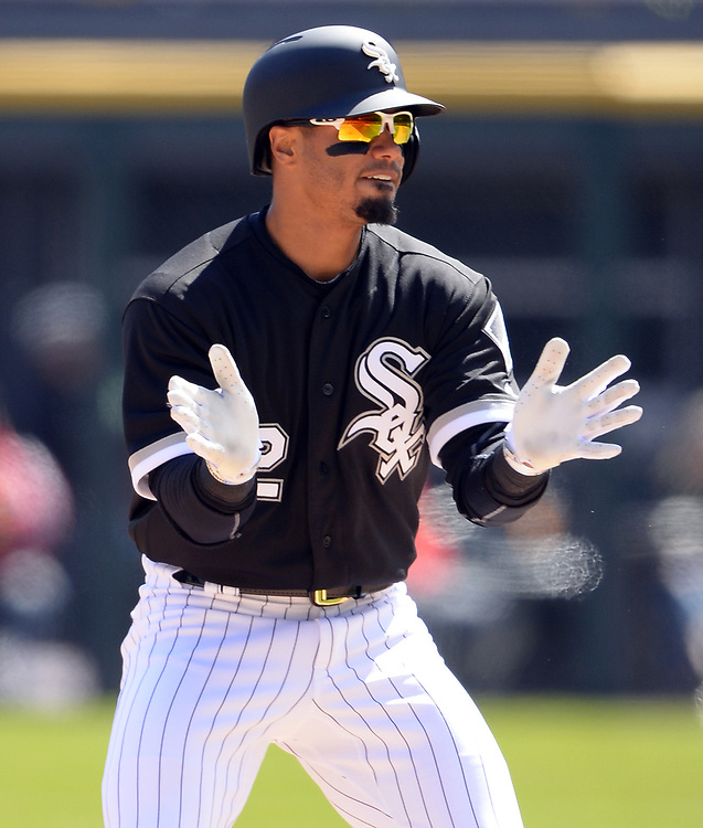 CHICAGO - APRIL 06:  Jacob May #32 of the Chicago White Sox reacts against the Detroit Tigers on April 6, 2017 at Guaranteed Rate Field in Chicago, Illinois.  The White Sox defeated the Tigers 11-2.  (Photo by Ron Vesely)   Subject:  Jacob May