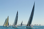 Yachts race in Table Bay during the IRC regatta, held during the Cape Town stopover of the 2014 Volvo Ocean Race. Image by Greg Beadle