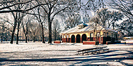 Winter at the Pavilion in Island Park Geneva, Illinois. It's a beautiful, old structure that is shelter for picnics with a fireplace.