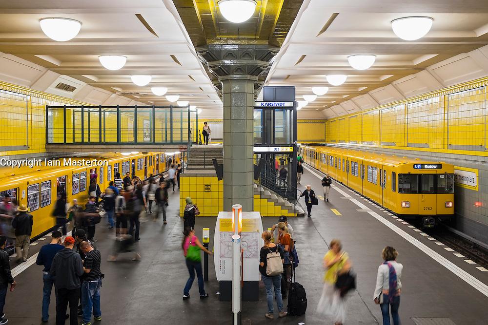 train at platform at Hermannplatz subway station in Berlin Germany