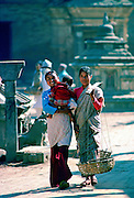 Friends two women and a baby, Patan, Nepal
