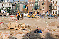 Archaeological Excavations taking plan in Rynek Glowny Market Square in Krakow Poland in 2005