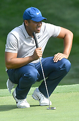 August 9, 2018 - St. Louis, Missouri, U.S. - ST. LOUIS, MO - AUGUST 09: Jonathan Vegas lines up a putt on the #15 green during the first round of the PGA Championship on August 09, 2018, at Bellerive Country Club, St. Louis, MO.  (Photo by Keith Gillett/Icon Sportswire) (Credit Image: © Keith Gillett/Icon SMI via ZUMA Press)