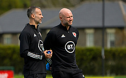 CARDIFF, WALES - Saturday, September 5, 2020: Wales' manager Ryan Giggs (L) and assistant coach Robert Page during a training session at the Vale Resort ahead of the UEFA Nations League Group Stage League B Group 4 match between Wales and Bulgaria. (Pic by David Rawcliffe/Propaganda)