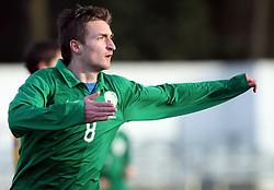 Armin Bacinovic (8)  of Slovenia celebrates first goal during Friendly match between U-21 National teams of Slovenia and Romania, on February 11, 2009, in Nova Gorica, Slovenia. (Photo by Vid Ponikvar / Sportida)