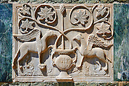 Medieval Oriental Byzantine Bas Reliefs of two winged Griffins on th Facade of St Mark's Basilica, Venice. Looted from Constantinople after the Fourth Crusade (1202-1204)