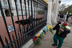 © Licensed to London News Pictures. 09/04/2021. LONDON, UK. A man lays flowers outside Buckingham Palace after the death of Prince Philip, aged 99, was announced.  Photo credit: Stephen Chung/LNP