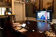 DEN HAAG, 21-01-2021, Paleis Huis ten Bosh <br /> <br /> Koningin Maxima spreekt met de gouverneur Tiemoko Meyliet Kone van de Centrale Bank van West-Afrikaanse Staten (BCEAO) tijdens een virtueel bezoek aan Senegal als speciale pleitbezorger van de secretaris-generaal van de Verenigde Naties voor inclusieve financiering voor ontwikkeling (UNSGSA). <br /> <br /> Queen Maxima speaks with Senegal's Minister for Digital Economy and Telecommunications, Yankhoba Diatara during a virtual visit to Senegal as the United Nations Secretary-General's Special Advocate for Inclusive Finance for Development (UNSGSA).