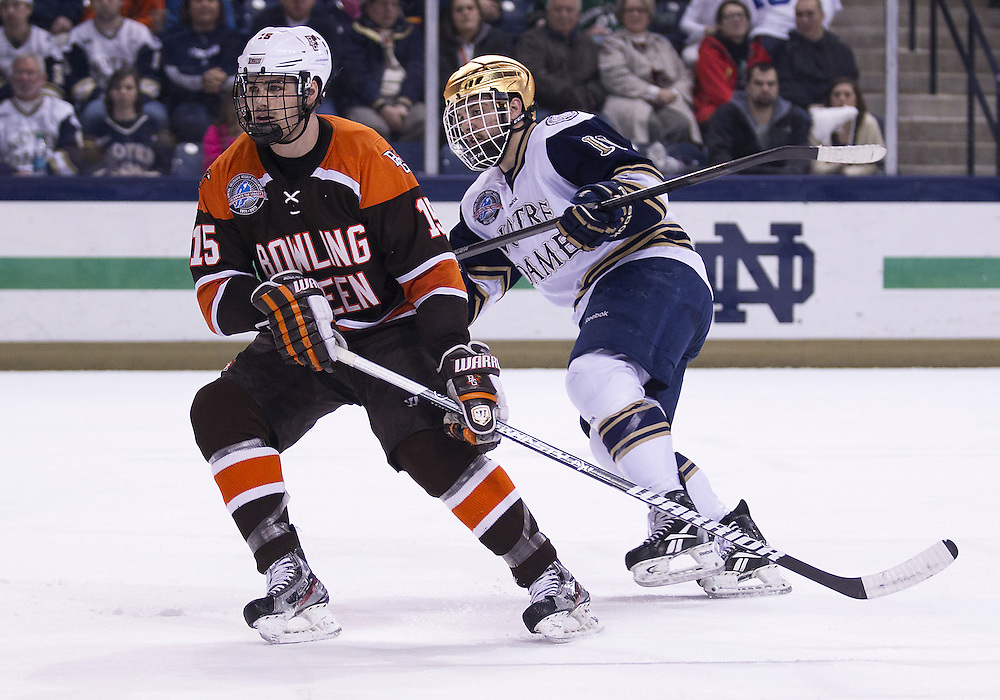 March 15, 2013:  Bowling Green defenseman Marcus Perrier (15) and Notre Dame left wing Jeff Costello (11) during NCAA Hockey game action between the Notre Dame Fighting Irish and the Bowling Green Falcons at Compton Family Ice Arena in South Bend, Indiana.  Notre Dame defeated Bowling Green 1-0 in overtime.