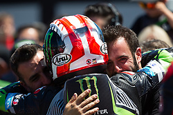 July 7, 2018 - Misano, RN, Italy - Jonathan Rea of Kawasaki Racing Team celebrate with the team the victory of race 1 of the Motul FIM Superbike Championship, Riviera di Rimini Round, at Misano World Circuit ''Marco Simoncelli'', on July 07, 2018 in Misano, Italy  (Credit Image: © Danilo Di Giovanni/NurPhoto via ZUMA Press)