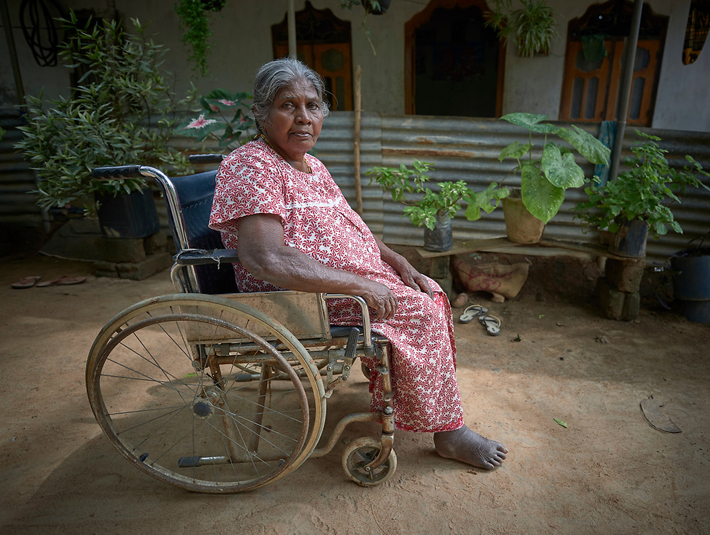 A woman in Parantan, Kilinochchi, Sri Lanka. She participates in a church-sponsored women's group, many of whose members are widows, their husbands killed during the country's brutal civil war.