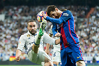 Daniel Carvajal of Real Madrid competes for the ball with Leo Messi of FC Barcelona during the match of La Liga between Real Madrid and Futbol Club Barcelona at Santiago Bernabeu Stadium  in Madrid, Spain. April 23, 2017. (ALTERPHOTOS)