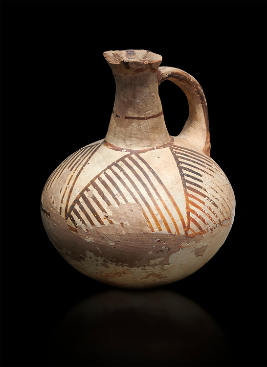 Cycladic ceramic jug with linear decoration. Cycladic II (2800-2300 BC) , Chalandriani, Syros. National Archaeological Museum Athens. Cat no 5147.  Black background. .<br /> <br /> If you prefer to buy from our ALAMY PHOTO LIBRARY  Collection visit : https://www.alamy.com/portfolio/paul-williams-funkystock/cycladic-art-artefacts.html Type into the LOWER SEARCH WITHIN GALLERY box to refine search by adding background colour, place, museum etc<br /> <br /> Visit our CYCLADIC CIVILISATIONS PHOTO COLLECTIONS for more photos to download or buy as wall art prints https://funkystock.photoshelter.com/gallery-collection/Cycladic-civilisation-Ancient-Greek-Artefacts-art-Photos-Pictures-Images/C0000CmevVvnC.XU