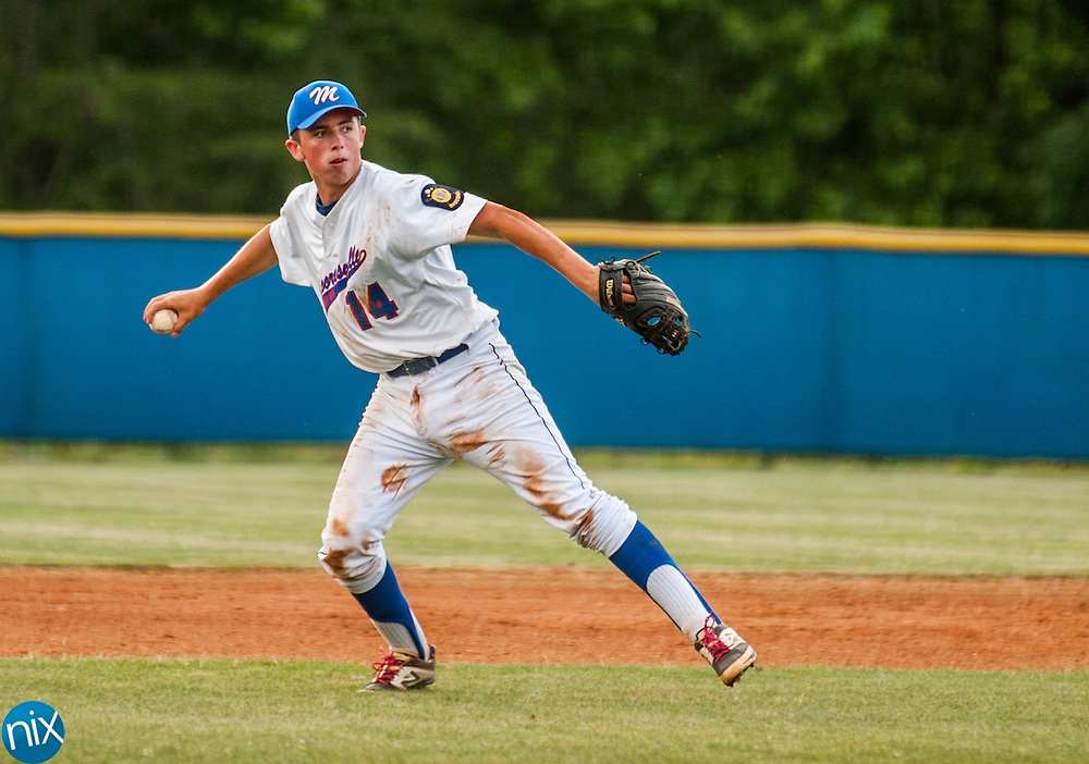 Mooresville Post 66's Zach Little throws a runner out against Concord Monday night at Lake Norman High School. Concord won the game 6-5.
