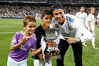 Real Madrid's Cristiano Ronaldo and his children celebrate the victory in the Supercup of Spain 2017. August 16,2017. (ALTERPHOTOS/Carrusan)
