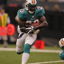 2008 August 28: Ronnie Brown (23) of the Miami Dolphins runs against the New Orleans Saints in a preseason match up at the Louisiana Superdome in New Orleans, LA.