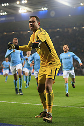 19th December 2017 - Carabao Cup (Quarter Final) - Leicester City v Manchester City - Man City goalkeeper Claudio Bravo celebrates victory - Photo: Simon Stacpoole / Offside.