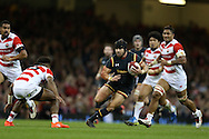 Leigh Halfpenny of Wales makes a break.  Under Armour 2016 series international rugby, Wales v Japan at the Principality Stadium in Cardiff , South Wales on Saturday 19th November 2016. pic by Andrew Orchard, Andrew Orchard sports photography