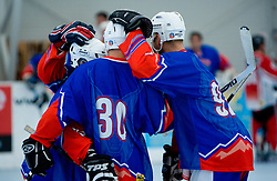 Team Slovenija celebrates at in-line tournament Horjul Hockey Cup 2009 between National teams of Slovenia and Austria, on May 31, 2009, in Sportni park Horjul, Slovenia. (Photo by Vid Ponikvar / Sportida)