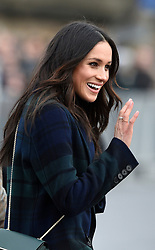Meghan Markle greets wellwishers while on a walkabout on the esplanade at Edinburgh Castle, as she and Prince Harry visited Scotland.