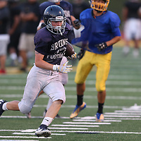 (Photograph by Bill Gerth/ for SVCN/8/18/17) Branham RB Nolan Gallagher scores during the  BVAL Football Jamboree at Leigh High School, San Jose CA on 8/18/17.