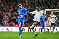 England Midfielder Raheem Sterling (10) and Italy Midfielder Jorge Luiz Jorginho (14) battle for the ball during the Friendly match between England and Italy at Wembley Stadium, London, England on 27 March 2018. Picture by Stephen Wright.