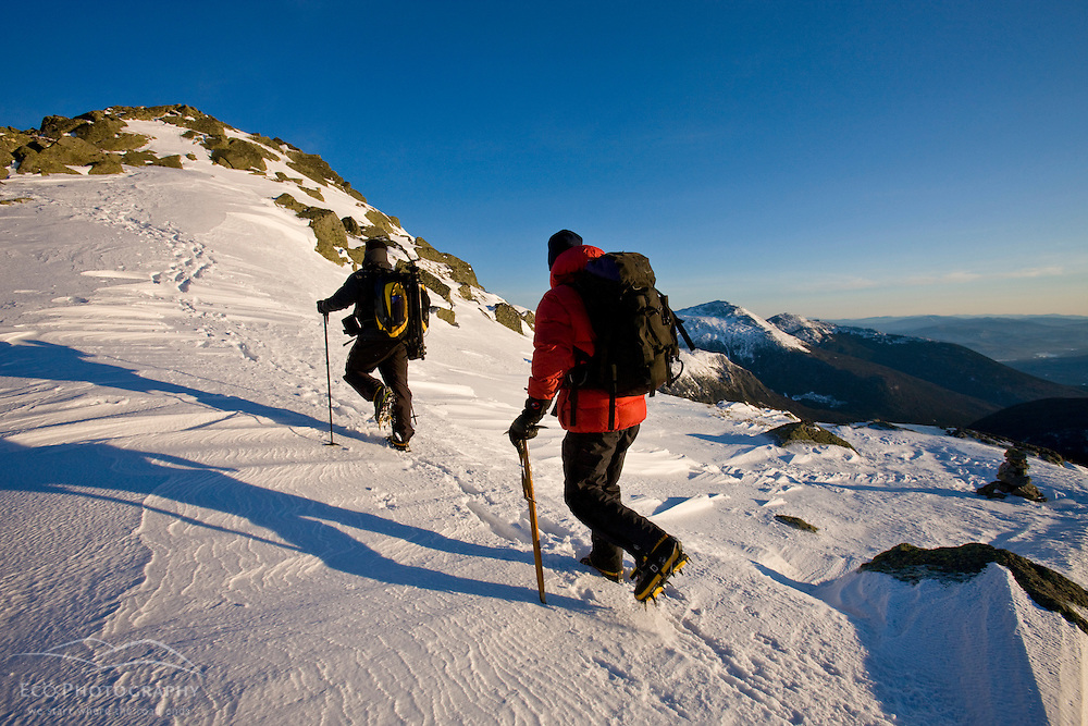 Winter hiking on Mount Clay above the Great Gulf in New Hampshire's White Mountains.  Winter. Northern Presidential mountain range.  Gulfside Trail.